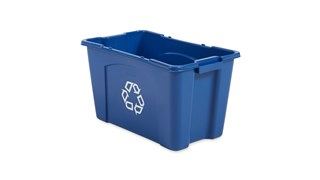 The Rubbermaid Commercial Recycling Bin is made of post-consumer recycled resin for commercial recycling use.