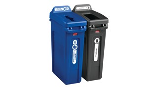 Expert-designed waste stream labels feature three visual cues, the recycling symbol, a stream icon and verbiage proven to increase recycling effectiveness. Kit includes labels designed for vertical Slim Jim® recycling lids.