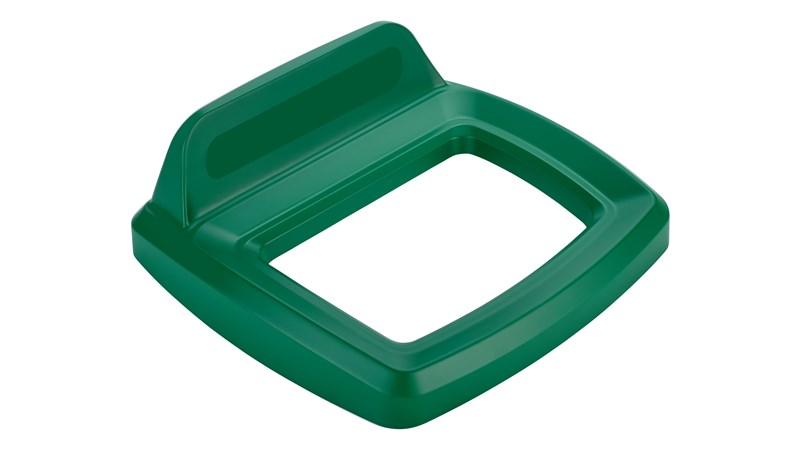 The Rubbermaid Commercial Untouchable® recycling lids are designed to make recycling easier with consistent color-coding, lid openings and waste stream options