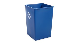 The Rubbermaid Commercial Untouchable® Recycling Container is perfect for use in areas of high paper generation, such as near copiers, printers, and in mailrooms. This square recycler contains Post-Consumer Recycled Resin (PCR) exceeding EPA guidelines.