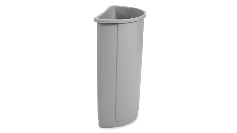 Rubbermaid Commercial Untouchable® Half Round Wastebaskets offers functional waste collection in an elegant design.