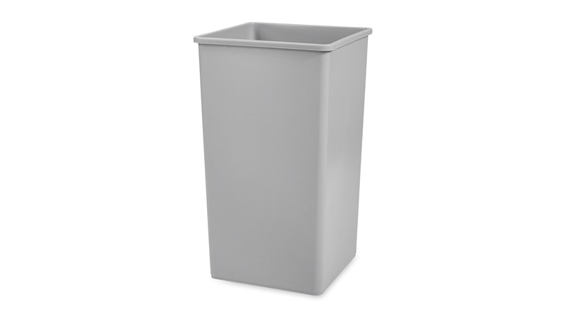 Stationary containers provide convenient central collection sites for multiple work stations or areas.
