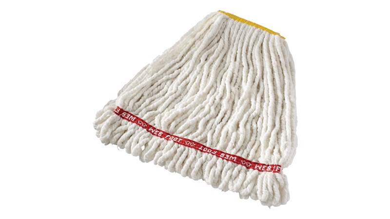 Web Foot® Blend Shrinkless Mop is made from a balanced 4-ply blend of cotton and synthetic yarn for high absorbency that is ideal for general purpose mopping.