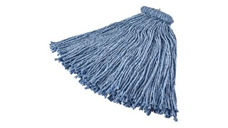 Cut-end mop with screw-on head for general-purpose mopping. Blend of 4-ply cotton/rayon/synthetic. Enhanced mop-to-floor contact.