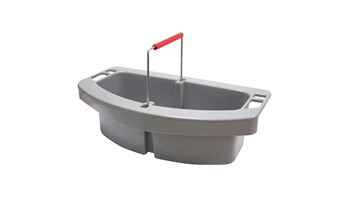 The Rubbermaid Commercial Maid Cleaning Caddy can be carried on its own or snapped into the 44-gallon BRUTE container (sold separately) for additional storage.