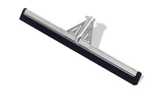 The heavy-duty floor squeegee has a natural moss rubber blade. It accepts a tapered handle. It is used to clean up wet or dry spills in commercial, medical, and industrial environments.
