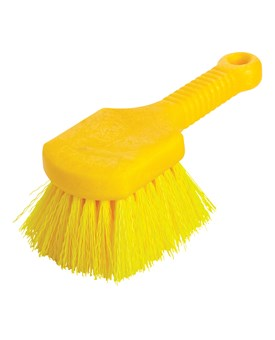 The brush has yellow polypropylene fiber bristles and a yellow plastic structural foam block and handle. Block won't crack or warp and resists bacteria growth. Use for general cleaning and scrubbing in wet or dry conditions.