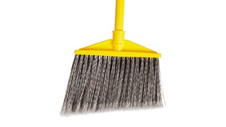 The Rubbermaid Commercial Angled Broom with Polyethylene Bristles has sturdy bristles that are cut and shaped to make sweeping easier. Polypropylene bristles are both stain-resistant and designed for durability.