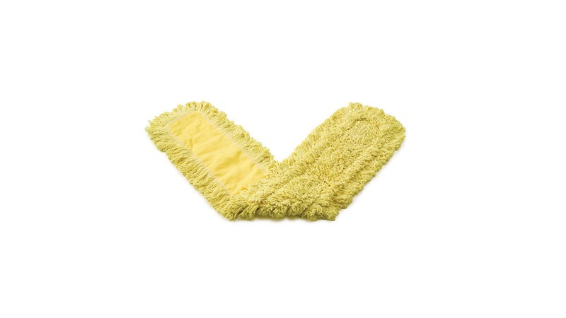"""Trapper® Dust Mop 24"""" FGJ15300 is a looped-end, balanced-blend dust mop for general-purpose dust mopping. Pretreated, preshrunk, and fully launderable for long product life. Slip-on backing for easy setup. All-sewn construction. Recycled content: up to 65% post-industrial cotton and 35% PET plastic. Made with looped ends that resist fraying and withstand laundering better than cut ends."""
