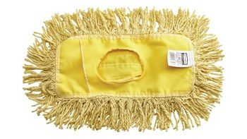 "Trapper® Dust Mop 12"" FGJ15100 is a looped-end, balanced-blend dust mop for general-purpose dust mopping. Pretreated, preshrunk, and fully launderable for long product life. Slip-on backing for easy setup. All-sewn construction. Recycled content: up to 65% post-industrial cotton and 35% PET plastic."