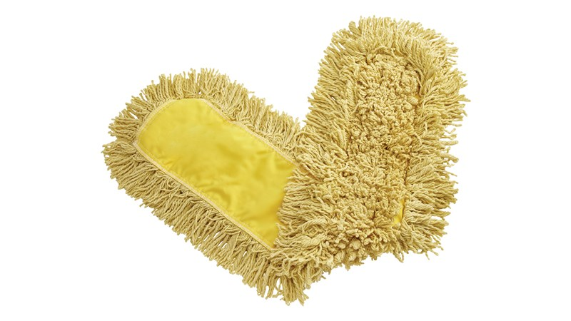 "Trapper® Dust Mop 36"" FGJ15500 is a looped-end, balanced-blend dust mop for general-purpose dust mopping. Pretreated, preshrunk, and fully launderable for long product life. Slip-on backing for easy setup. All-sewn construction. Recycled content: up to 65% post-industrial cotton and 35% PET plastic."
