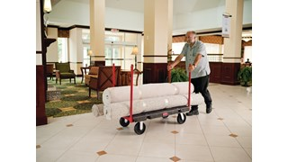 """The Rubbermaid Commercial Stanchion Platform Truck 24""""X48"""" with 8""""POLYOLEFIN casters, 2500 lb. capacity"""