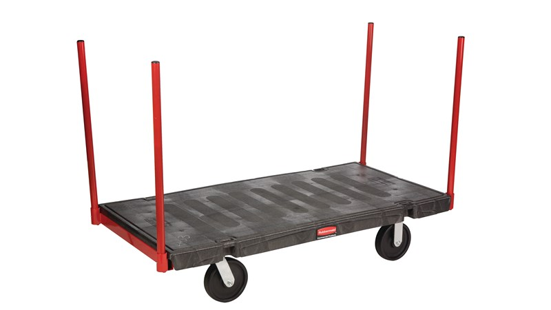"""The Rubbermaid Commercial Stanchion Platform Truck 30""""X60"""" with 8""""POLYOLEFIN casters, 2500 lb. capacity"""