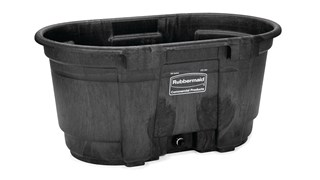 The Rubbermaid Commercial Stock Tank features an oversized drain and durable, weather-resistant structural foam construction.