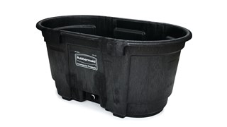 The 100 Gallon Stock Tank has a sleek appearance and smooth black color that features an over-sized drain plug for easy draining and cleaning. Constructed from molded polyethylene for superior performance and long-lasting durability in all types of weather. Traditionally used for providing drinking water to farm animals; other alternative uses include a pond for ducks or fish, bathtub for pets/animals, mini pool/hot tub, a reservoir for water fountains, hydroponics, potting plants and more.