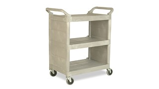 The Rubbermaid Commercial 3421 Service Cart with Swivel Casters and End Panels, Platinum. 150 lbs load capacity, easy to clean shelves, comfortable curved handles.