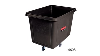 The Rubbermaid Commercial 8 cu ft Cube Truck is part of a full line of Cube Trucks assisting in waste collection, material transport, and laundry handling.