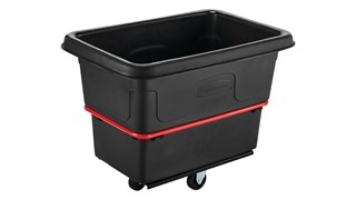 The Rubbermaid Commercial 8 cu ft Heavy-Duty Utility Cube Truck, 700 lbs load capacity, black.