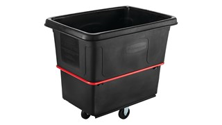 The Rubbermaid Commercial Cube Truck is constructed of durable rotomolded plastic and is designed to transport waste, laundry, and other materials.