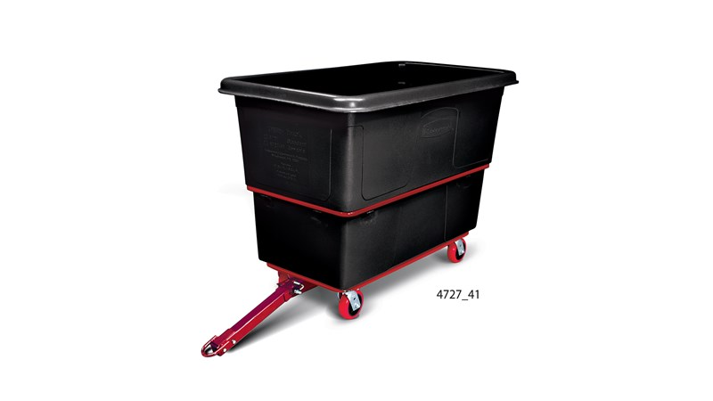 "The Rubbermaid Commercial Heavy Duty Towable Utility Truck can carry up to 1,200 lbs. on four 5"" corner swivel casters."