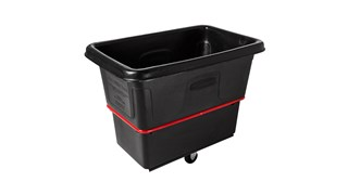 The Rubbermaid Commercial 12 cu ft Heavy-Duty Utility Cube Truck, 800 lbs load capacity, black.