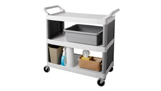 The Rubbermaid Commercial Utility Cart is constructed from durable HDPE (high-density polypropylene) for improved chemical resistance that will not absorb moisture.