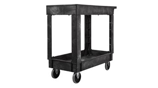 The Rubbermaid Commercial Utility Cart with 2 Lipped Shelves, Medium, is a versatile, durable cart that can transport up to 500 lbs.