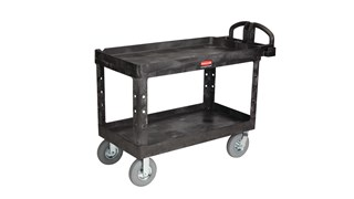 The Rubbermaid Commercial Utility Cart with Lipped Shelf is perfect for transporting materials, supplies, and heavy loads in almost any environment.