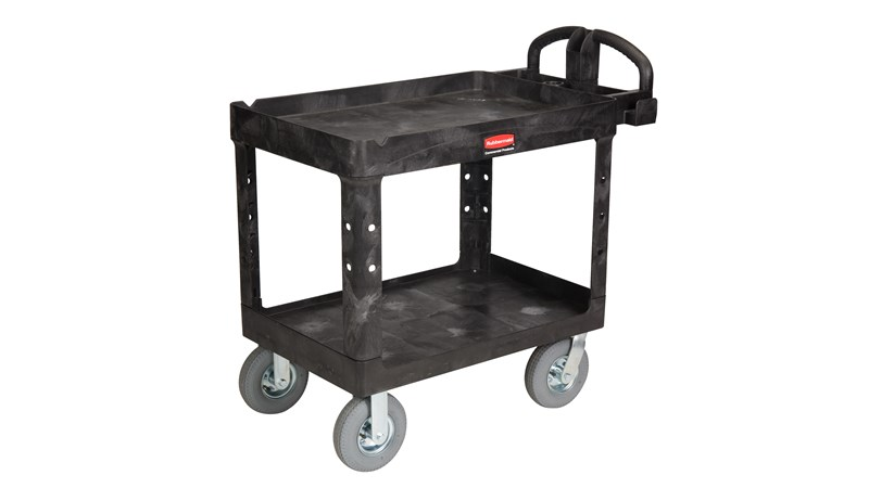 "The Rubbermaid Commercial Heavy-Duty Utility Cart with 8"" Casters, Medium, is a versatile, durable cart that can transport up to 500 lbs."