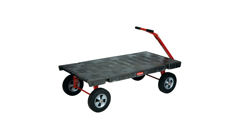 """The Rubbermaid Commercial 5th Wheel Wagon Truck 30""""X60"""" with 12"""" TPR wheels, 2000 lb. capacity"""