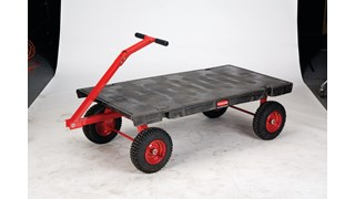 "The Rubbermaid Commercial 5th Wheel Wagon Truck 30""X60"" with 12"" PNEUMATIC casters, 2000 lb. capacity"