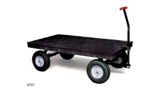"The Rubbermaid Commercial 5th Wheel Wagon Truck 70""X40"" with 12"" PNEUMATIC casters, 2000 lb. capacity"
