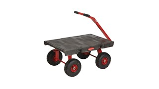 "The Rubbermaid Commercial Wagon Truck 24""X36"" with 10"" PNEUMATIC casters, 1200 lb. capacity"
