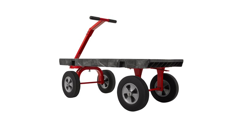 "The Rubbermaid Commercial 5th Wheel Wagon Truck 24""X48"" with 12"" TPR wheels, 2000 lb. capacity"