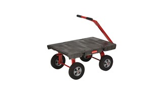 "The Rubbermaid Commercial 5th Wheel Wagon Truck 24""X36"" with 10"" TPR wheels, 2000 lb. capacity"