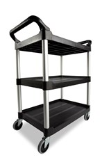 Service Cart with 4 In Swivel Casters,  Black