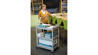 The Rubbermaid Commercial Utility Cart, 3 Shelf, is a versatile, durable cart that can support up to 200 lbs.
