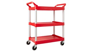 The Rubbermaid Commercial Utility Cart features easy-to-clean smooth surfaces, swivel casters for easy mobility, and user-friendly easy to grip handles.
