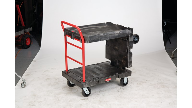 The Rubbermaid Commercial Convertible Platform Truck features a unique, convertible design that quickly transforms the bulk load capacity of a standard hand truck to the functionality of a heavy-duty, two-shelf utility cart.