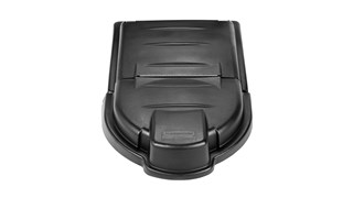 The Rubbermaid Commercial Mega BRUTE Mobile Collector domed, hinged lids provide convenient access to contents without reducing overall capacity