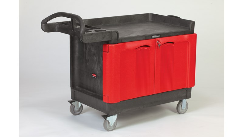 """The Rubbermaid Commercial TradeMaster 2-Door Cabinet Utility Cart creates a rolling work center capable of transporting up to 750 lbs. on two 5"""" non-marking casters and two 5"""" locking swivel casters."""