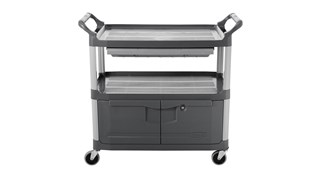 The Rubbermaid Commercial Xtra Instrument and Utility Cart is a rolling utility cart with two shelves, a lockable cabinet and a sliding drawer.