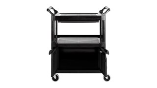 The Rubbermaid Commercial 2-Shelf Utility Cart with Cabinet and Sliding Drawer features all-plastic construction make this wheel cart durable and easy to maintain.