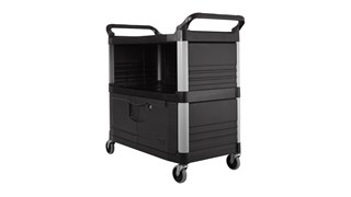The Rubbermaid Commercial Utility Cart features two shelves and a locking lower cabinet. This rolling utility cart is constructed from high-density polypropylene for improved chemical resistance.