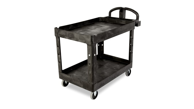 The Rubbermaid Commercial Heavy-Duty Utility Cart with 2 Lipped Shelves, Large, is a versatile, durable cart that can transport up to 500 lbs.