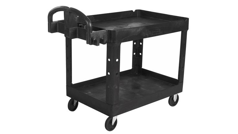 The Rubbermaid Commercial Executive Series Heavy Duty 2 Shelf Utility Cart with Quiet Casters. High-density structural foam construction makes this cart sturdy, lightweight, and maneuverable.