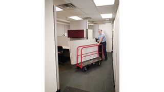 The Rubbermaid Commercial Sheet and Panel Truck has a 2,000-pound capacity and features built-in tie-down slots to secure loads while moving them and a textured surface greatly reduces slippage.