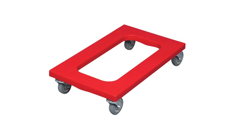 The Rubbermaid Commercial Polyethylene Dolly with red padded deck. The 1000 lb weight load provides plenty of strength for the toughest of moving tasks.