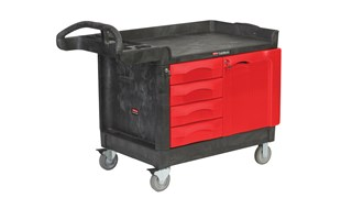 The Rubbermaid Commercial TradeMaster Mobile Work Center Utility Cart, 4 Drawer, easily transports tools and supplies where you need them.