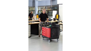 """The Rubbermaid Commercial TradeMaster 4-Drawer Cabinet Utility Cart creates a rolling work center capable of transporting up to 750 lbs. on two 5"""" non-marking casters and two 5"""" locking swivel casters."""